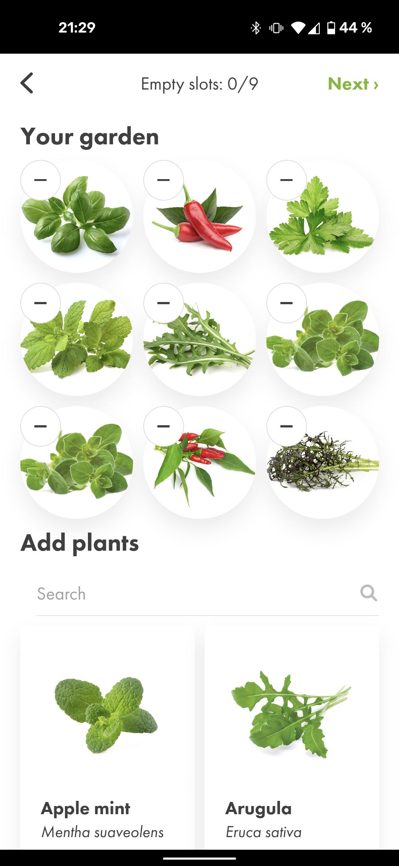 Click and Grow App gefuellte Kapseln